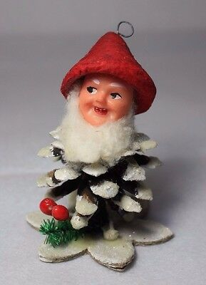 Vintage Pinecone Elf Christmas Gnome Dwarf Holiday Italy Mica Glitter Cotton