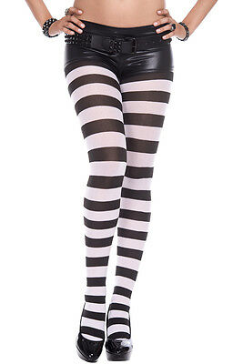 Music Legs Gothic Punk Plus Size Wide Stripes Black & White Pantyhose Tights