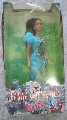 Collectible Boxed Barbie PEACOCK Fauna Collection Vintage Display Doll Blue W@W