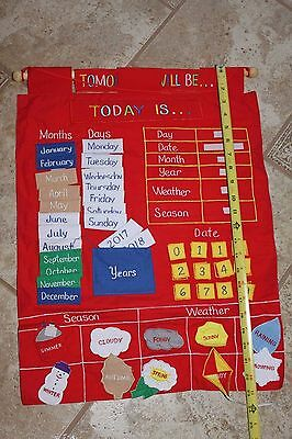 Today Is Children's Calendar Weather Season Wall Chart by Alma's Design - Red