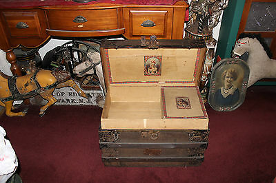 Antique Victorian Wood & Metal Storage Chest Trunk-Flat Top Trunk-George Huber
