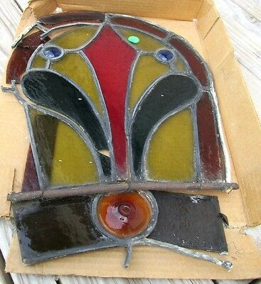 Rare Antique Victorian Stained Glass Window W/jewels Bull's Eye Estate # 340