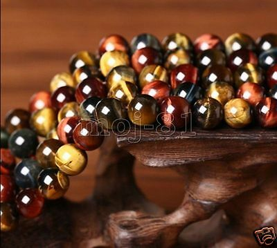 8MM Natural Colorful Tiger's Eye Stone Gemstone Round Loose Beads 15'' AAA