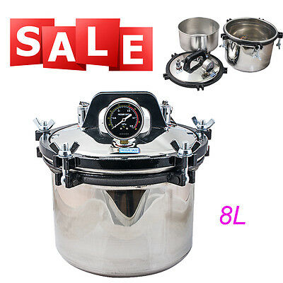 dental 8L Steam Autoclave Sterilizer sterilization Equipment Dual heating FDA CE
