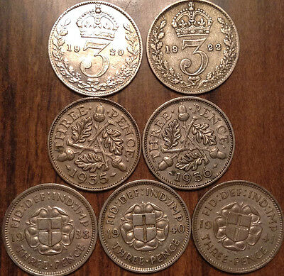 Lot Of 7 Uk Great Britain Silver Threepence Lower To Better Grade #aa
