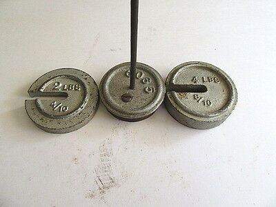 Vintage Antique Cast Iron Balance Scale Weights