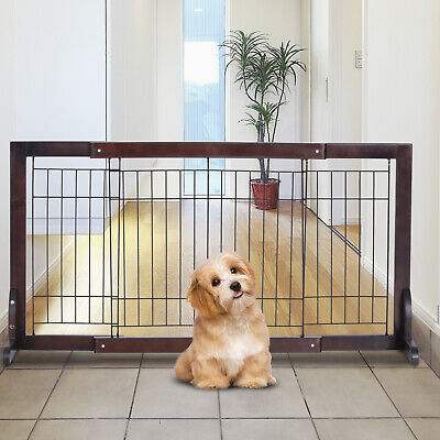 PawHut Free Standing Adjustable Pet Gate Fence Dog Secure Indoor Wood