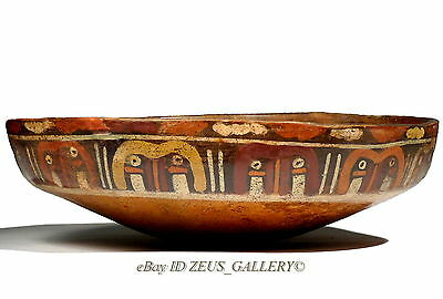 "Pre Columbian NAZCA Large Painted Glyphs Pottery Bowl 8¼"" 21cm 500 AD Orange Red"