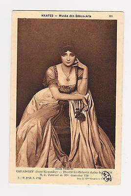 Artist Signed Portrait Of Genevieve Vix French Actress Vintage Sepia Postcard