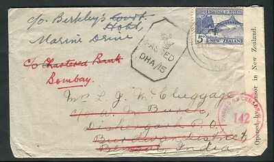 1942 New Zealand 4d Swordfish Cover to India & Redirected Double Censor