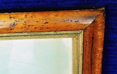 Antique 19th Century Birdseye Maple Frame Gold Fillet with Ship Print