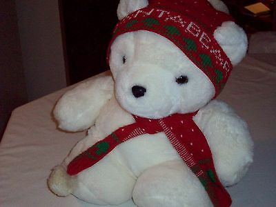 Christmas Holiday Santa Teddy Bear w/ Hat  & Scarf