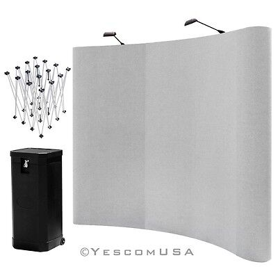 8' Gray Magnetic Connection Curved Pop Up Trade Show Display Booth Spotlights