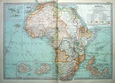 AFRICA- ST.HELENA - ASCENSION - MAURITIUS  Original 1903 Antique Edwardian Map