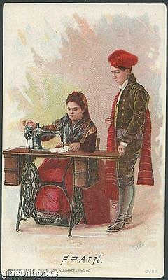 Victorian Trade Card for Singer Sewing Machine with Spain, Barcelona