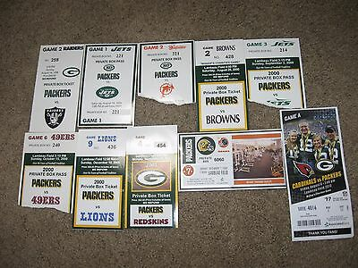 LOT of 10/GREEN BAY PACKERS SUITE TICKET STUBS/1998-2013