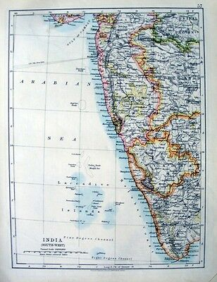 INDIA - SOUTH WEST- MYSORE -  LACCADIVES   Original 1910  Antique Edwardian Map