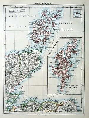 SCOTLAND - NORTH EAST  SHETLANDS - ORKNEYS  Original 1901  Antique Edwardian Map