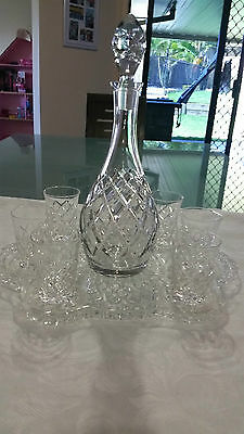 Vintage Crystal Glass Diamond Pattern Decanter With 6 Glasses And Tray - Pick-Up