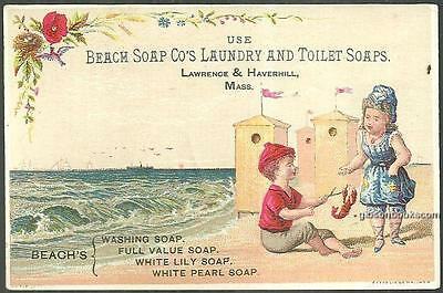 Victorian Trade Card For Beach Laundry Soap with Boy and Girl on Beach