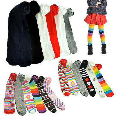 Girls Warm Winter Tights Assorted Colors Thick Cute Soft Cozy  XS S L XL