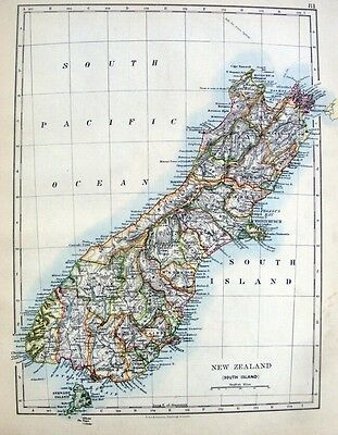 NEW ZEALAND - SOUTH ISLAND  Original 1894 Antique Victorian Map