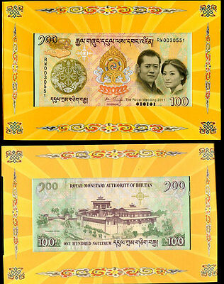 BHUTAN 100 NGULTRUM 2011 COMM. WEDDING P 35 UNC W/Folder