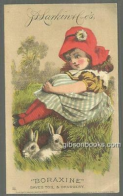 Victorian Trade Card for Larkin Boraxine with Lovely Girl with Two Bunnies