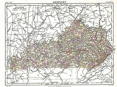 UNITED STATES - KENTUCKY  Original 1884 Antique Victorian Map