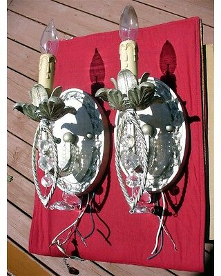 Pair Rococo Shield Back Art Noveau Elegant Crystal Glass Prisms Sconces Fluer