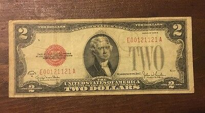 1928G $2 Dollar Bill Old Us Note Red Seal