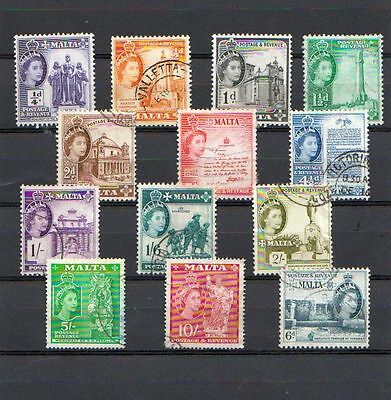 MALTA mixed lot  of 13 Queen Elizabeth stamps   USED lot #9