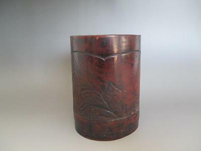 Japanese vintage bamboo brush pot HITTO/ very nice carving/ calligraphy/ 4437