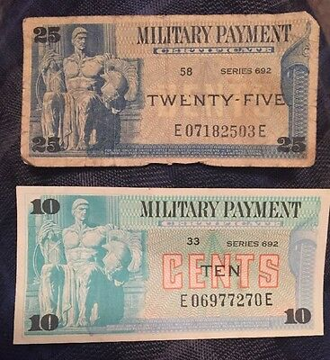 2 Military Payment Certificates Series 692 $.25 & $.10  #58 & #33