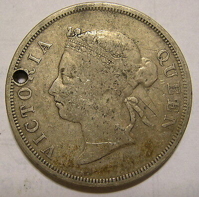 Straits Settlement 1897 50 cent silver holed  *** KEY DATE only 36K minted ***