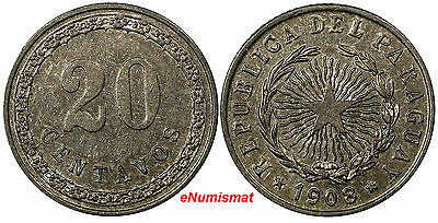 Paraguay Copper-Nickel 1908 20 Centavos AU/UNC 1 YEAR TYPE Toned KM# 11(#10126)
