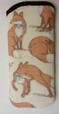 BN -FOXES  on cream - glasses case Ideal small gift - last one