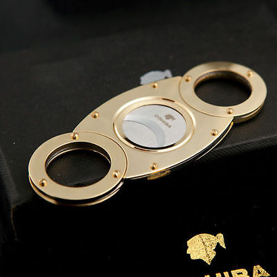 New COHIBA Gold Plated Pocket Stainless Steel Double Blade Cigar Cutter Scissors