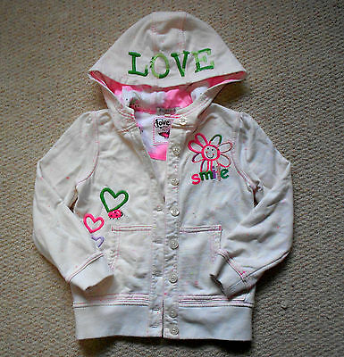 Marks & Spencer INDIGO Cream & Pink 'Smile' Hooded Top - Age 5-6 Years