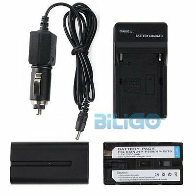2x Sony NP-F550 Li-Ion Battery 7.2V 2500mAh with Travel Car Charger High Quality