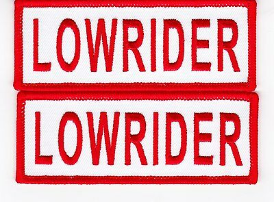 2 LOWRIDER WHITE RED 1.5x4 SEW/IRON ON PATCH EMBROIDERED CHEVY IMPALA FORD