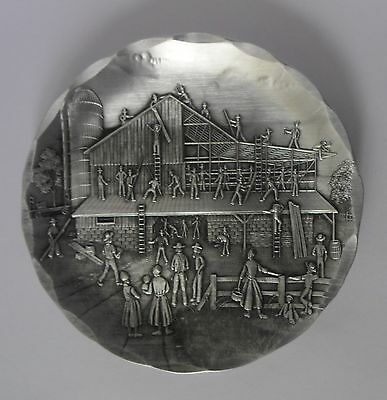 Wendell August Forge Barn Raising Coaster Pin Dish Plaque Picture Aluminium  New