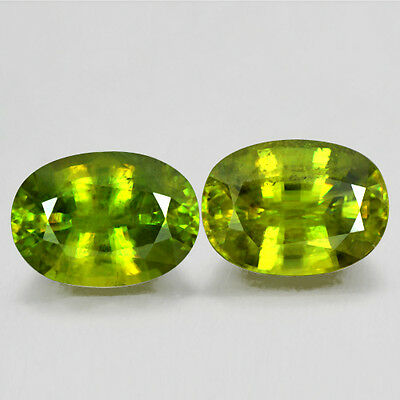 13.64 Cts Natural Top Sphene Rare Oval Cut Pair Gemstone RUSSIA Video Gemstone