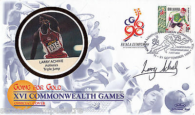 """1998 Commonwealth Games - Benham """"Special"""" - Signed by LARRY ACHIKE"""