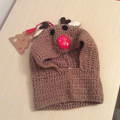 Fantastic childrens Christmas knitted reindeer winter hat (red flashing nose)
