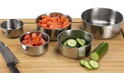 Chef Buddy 5 Piece Stainless Steel Bowl Set with Lids Silver(Kitchen) {82-08003}