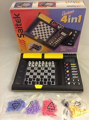 Saitek Electronic 4 In 1 Chess Set + Checkers + More Portable