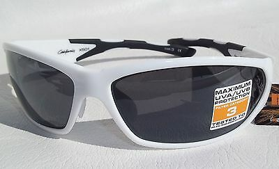Bloc California X501 Sports Sunglasses Shiny White Frame Grey Flash Lens