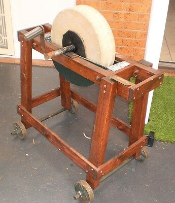 Antique Grinding Stone Wheels And Stand