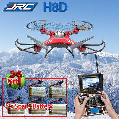 FPV JJRC H8D 6-Axis Gyro RC Quadcopter Drone 5.8G HD Camera + Monitor+5*Battery